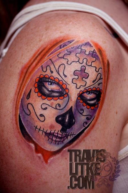 Travis Litke - Day of the Dead Girl Tattoo with Puzzle Pieces